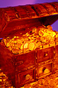 Chest Framed Prints - Treasure chest with gold coins Framed Print by Garry Gay