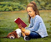 Young Girl Reading Paintings - Treasure Island by Ronald Wilkinson