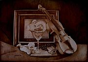 Wine Grapes Pyrography Posters - Treasures Poster by Jo Schwartz