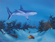 Sharks Paintings - Treasures of the Deep by Michael Allen