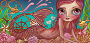 Blue Eyed Girl Prints - Treasures of the Sea Print by Jaz Higgins