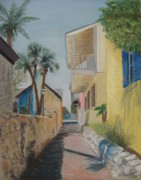 Florida Pastels - Treasury Street St Augustine by Diane Larcheveque