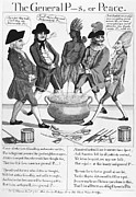 Sword Cartoon Prints - Treaty Of Paris Cartoon Print by Granger