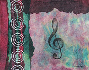 Karenpappert Framed Prints - Treble Clef Tie Dye Mixed Media Art Collage Framed Print by Karen Pappert