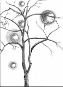 Planets Drawings Prints - Tree 3 Print by Stanislav Ballok