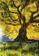 Autumn Landscape Digital Art - Tree  a la Van Gogh by Gun Legler