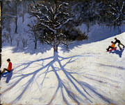 Children Playing Paintings - Tree and two tobogganers by Andrew Macara