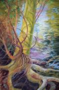 Tree Roots Paintings - Tree at Waters Edge by Sheliah Halderman