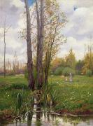 Park Scene Paintings - Tree Beside Water  by Ernest Le Villain