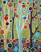 Primitive Art Prints - Tree Blooms and Birds Print by Karla Gerard