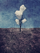 Landscape Digital Art Metal Prints - Tree Clouds 01d2 Metal Print by Aimelle