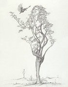 Dancer Art Drawings Posters - Tree Dancer in Flight Poster by Mark Johnson