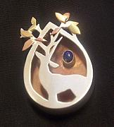 Autumn Jewelry - Tree Deer Pendant by Leslie Wilson