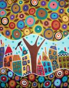 Modern Folk Art Paintings - Tree Eight Houses And A Bird by Karla Gerard