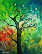 Aging Painting Framed Prints - Tree Fantasy Framed Print by Ramneek Narang