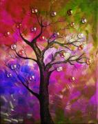Flower Design Painting Posters - Tree Fantasy2 Poster by Ramneek Narang