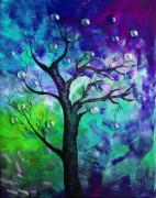 Flower Design Painting Posters - Tree Fantasy3 Poster by Ramneek Narang