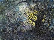 Fantasy Painting Originals - Tree Finally Captures Moon by Suzanne Shepherd