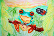 Tree Frog And Butterfly Print by Nick Gustafson