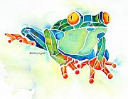 Tree Art Paintings - Tree Frog in Greens by Jo Lynch