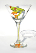 Hand Painted Glassware - Tree Frog Martini by Pauline Ross