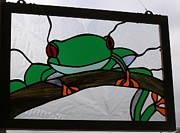 Amphibians Glass Art - Tree Frog by Shelly Reid