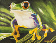 Reptiles Painting Prints - Tree Frog Print by Terry Lewey