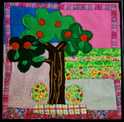 Felt Tapestries - Textiles Metal Prints - Tree Metal Print by Ghazel Rashid
