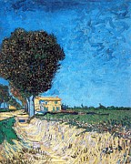 Man Prints - Tree house at a farm Print by Vincent Van Gogh