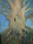 Tree Roots Painting Posters - Tree House Poster by Holly Stone