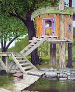 Wooden Stairs Originals - Tree House Pond by Will Lewis