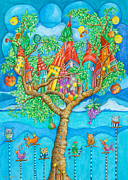 Nursery Room Art Prints Paintings - Tree House by Sonja Mengkowski