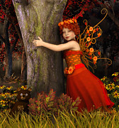 Faerie Digital Art Metal Prints - Tree Hug Metal Print by Jutta Maria Pusl