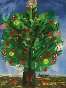 Primitive Raw Art Paintings - Tree in the Blue Room by Mary Carol Williams