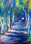 Artwork Pastels Prints - Tree Lined Road Print by Ylli Haruni