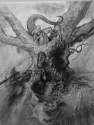 Tree Creature Drawings Framed Prints - Tree Of Eternal Life. Framed Print by Wayne Evans
