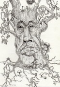 Fantasy Tree Drawings - Tree Of Knowledge by Julie McDoniel