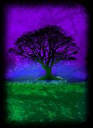 Splashy Mixed Media Originals - Tree of Life - Purple Sky by Robert R Splashy Art