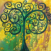 Watery Framed Prints - Tree of Life - Yellow Green Framed Print by Christy  Freeman