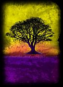Splashy Mixed Media Originals - Tree of Life - Yellow Sunburst Sky by Robert R Splashy Art