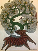 Indian Tribal Art Drawings - Tree Of Life 1 by Manoj Tekam