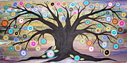 Black Painting Posters - Tree Of Life And Bird Poster by Karla Gerard