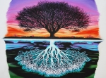 Tree Roots Drawings Framed Prints - Tree Of Life And Negative Framed Print by Brian Schuster