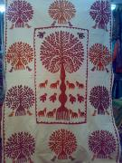 Hand Made Tapestries - Textiles - Tree Of Life Applique Sheet by Dinesh Rathi
