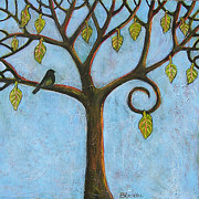 Spring Bird Paintings - Tree of Life Blue Sky by Blenda Studio