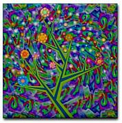 Colorful Art Ceramics - Tree Of Life Ceramic Art Tile by Jean Petree