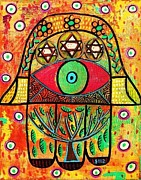 Hamas Paintings - Tree Of Life Hamsa by Sandra Silberzweig