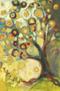 Abstract Tapestries Textiles Prints - Tree of Life in Autumn Print by Jennifer Lommers