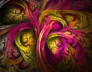 Trippy Digital Art - Tree of Life in Pink and Yellow by Tammy Wetzel