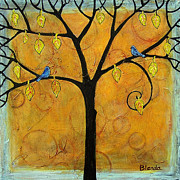 Bluebird Painting Metal Prints - Tree of Life in Yellow Metal Print by Blenda Studio